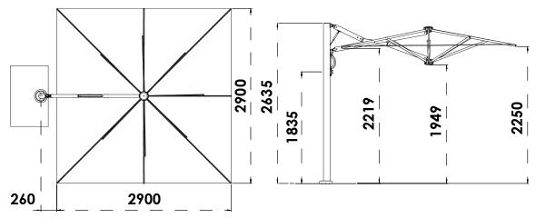 dimension parasol déporté 3x3m
