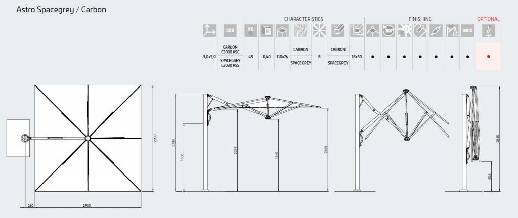 Dimensions parasol professionnel haut de gamme design