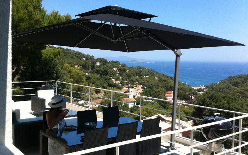 Laterna solero parasol excentr et d port laterna de - Parasol deporte rectangulaire excentre inclinable ...