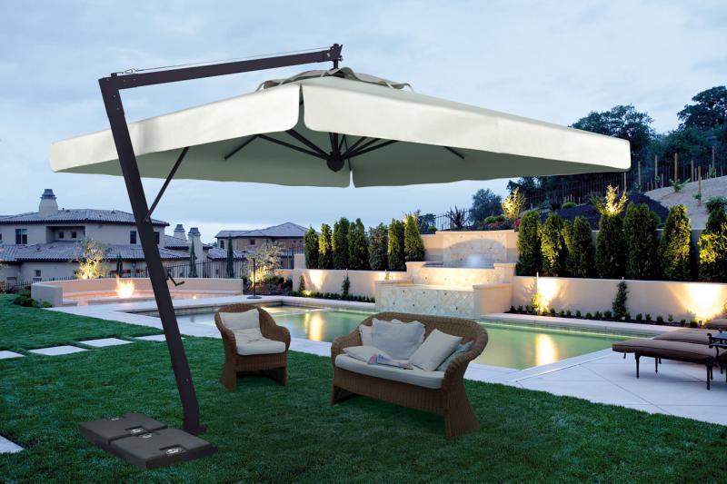 Grand Parasol Dport Pour Terrasse Restaurant En Alu Gris Anthracite