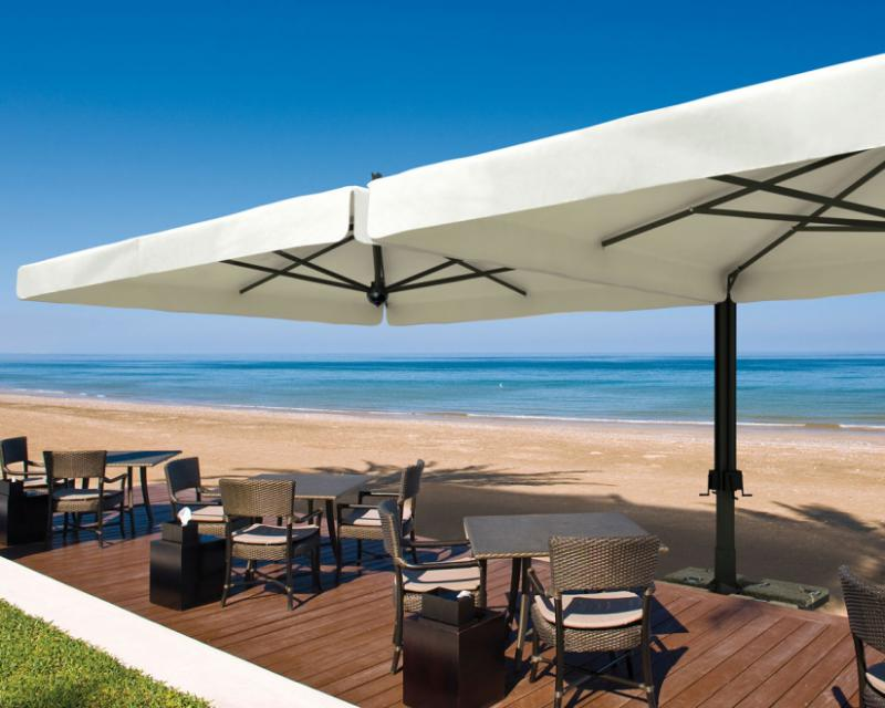 parasol g ant de terrasse alu double scolaro 2 parasols 3x6m ou. Black Bedroom Furniture Sets. Home Design Ideas