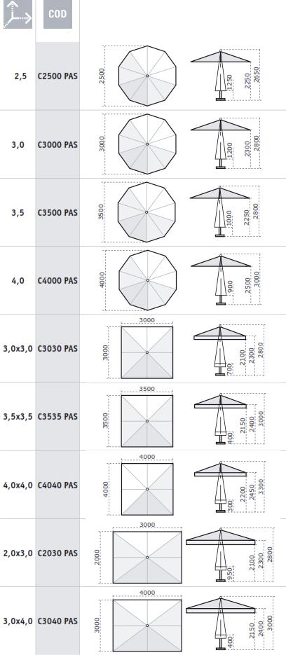 parasol bois carré rectangulaire rond 4x4 3x3m 2x2m 2.5m 3x4m 2x3m