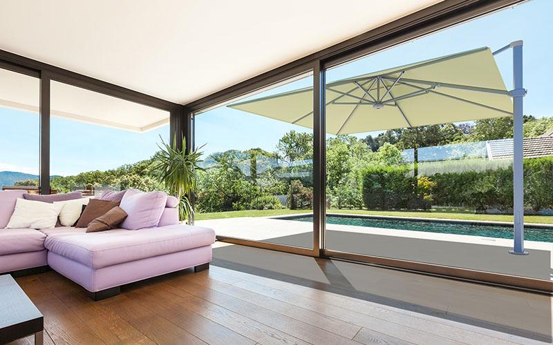 parasol excentré design maison piscine