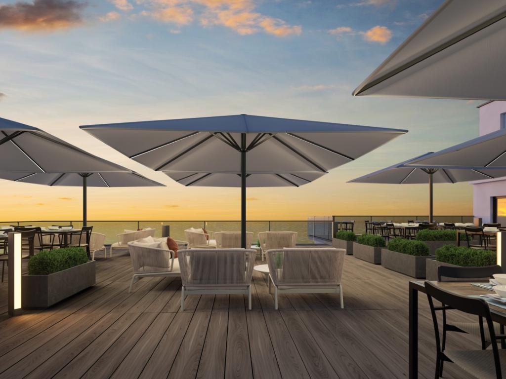 Prostor P8 grand parasol terrasse restaurant 4x4m