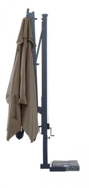parasol déporté à manivelle, orientable à 360 degrés, Galileo Dark du fabricant Scolaro Italie