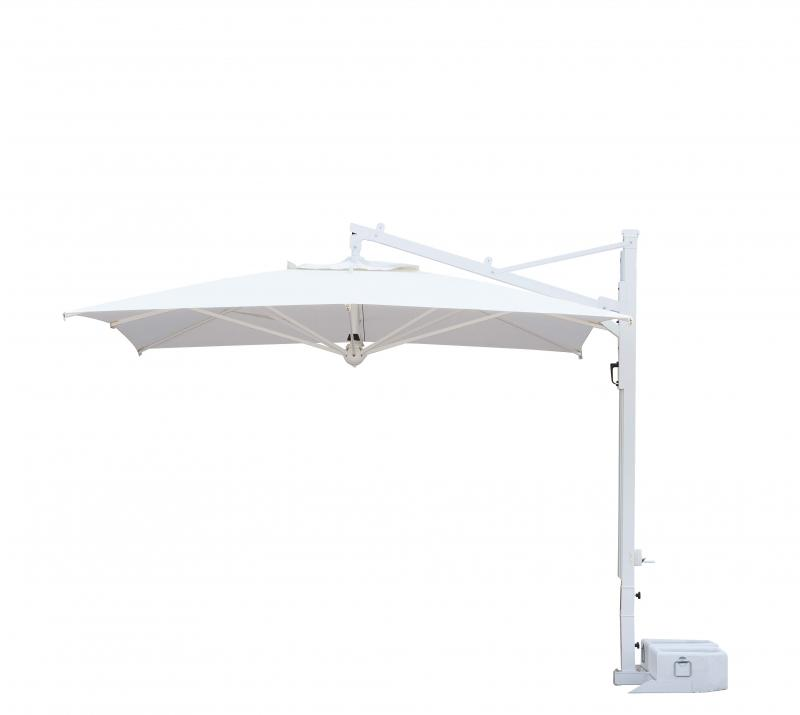 Parasol déporté haut de gamme aluminium blanc Galileo Starwhite ou Inox SCOLARO