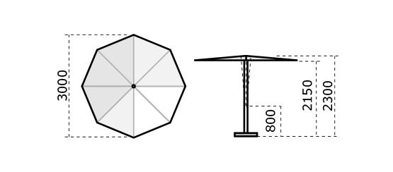 Parasol rond 2.20m Revo SCOLARO